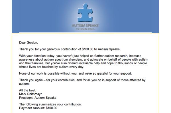 Autism Speaks Donation