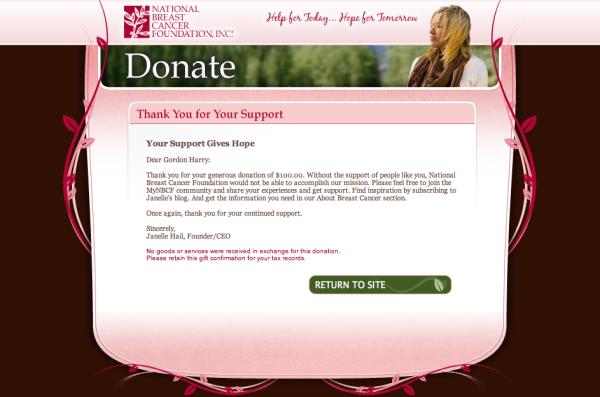 NBCF Donation