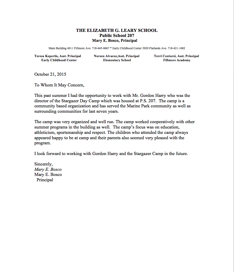 letter from the principal ps 207 stargazer day camp